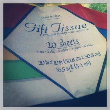 Less than $1 for 20 descent sized sheets of colored tissue paper.